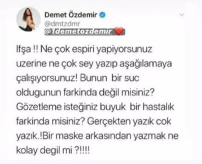 Demet Özdemir'den Aslı Bekiroğlu'na Destek