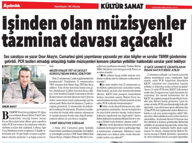 Onur Akay' ın Tutuklanan 21 Müzisyenle İlgili Yazısı